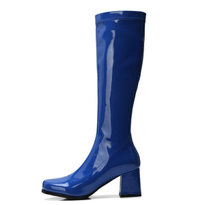 Arden Furtado winter shining leather high heels 6cm Royal blue purple knee high boots fashion shoes woman round toe chunky heels - IMPAVIID