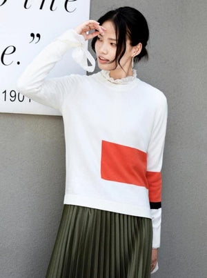MINIMALISM COLOR BLOCK CONTRASTING KNITTED SWEATER