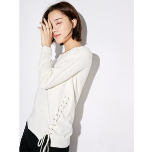 MINIMALISM LACED UP SWEATER