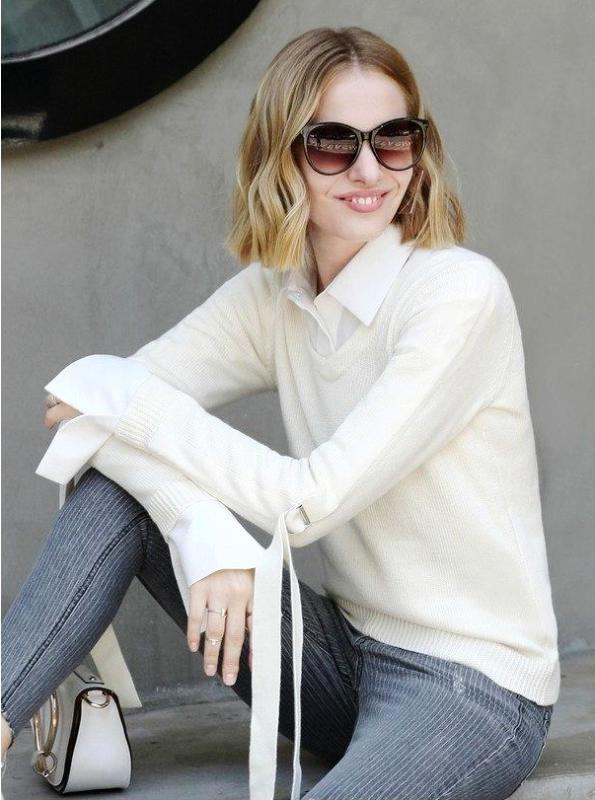 MINIMALISM V-NECK SWEATER WITH LEPED SLEEVES