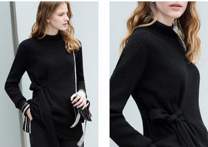 MINIMALISM LACED UP KNITTED SWEATER