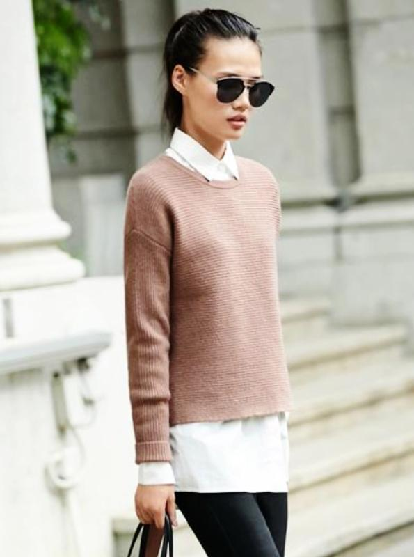 MINIMALISM O-NECK ASYMMETRICAL KNITTED SWEATER