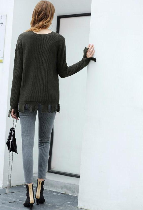 MINIMALISM RIPPED KNITTED SWEATER