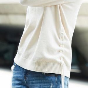 MINIMALISM V NECK LOOSE ASYMMETRICAL SWEATER