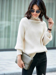 MINIMALISM LOOSE TURTLENECK KNITTED SWEATER