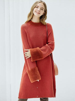 KNITTED SLIT SWEATER DRESS