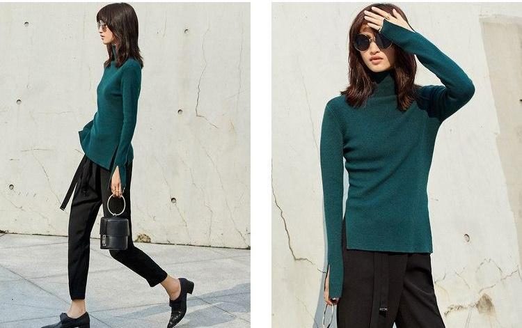 MINIMALISM KNITTED TURTLENECK WITH SIDE SLITS