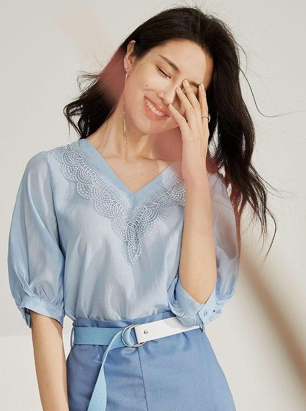 LANTERN SLEEVE EMBROIDERED BLUE BLOUSE