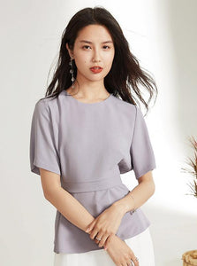 LILAC FORMAL LAPPED BLOUSE