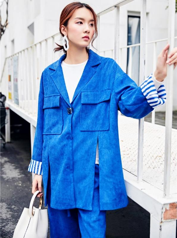 Cheerart Two Piece Blazer Set Outfits Women Blue Two Piece Pants Set Office Lady Jacket Suit High Street Fashion - IMPAVIID