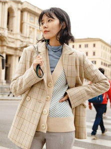 J-FASHION TURN DOWN COLLAR PLAID BLAZER