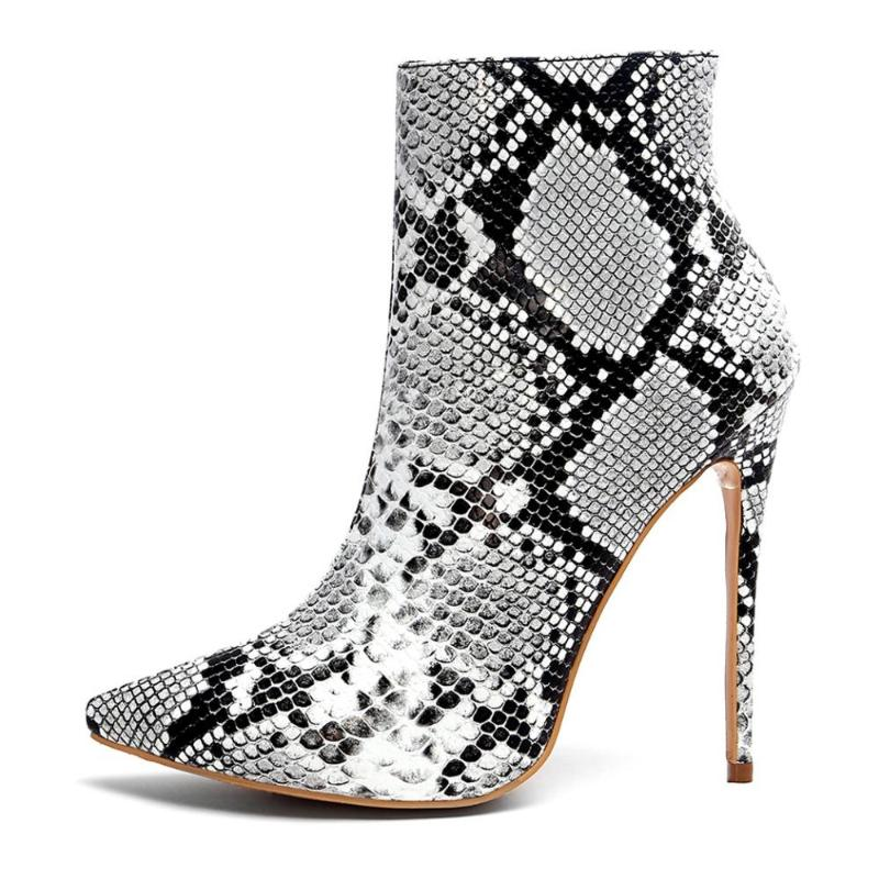 GREY SNAKE ANKLE BOOTS