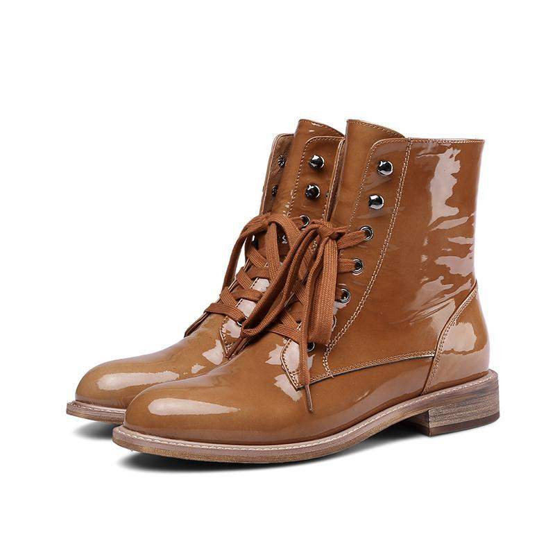 BROWN ANKLE LACED UP BOOTS - IMPAVIID