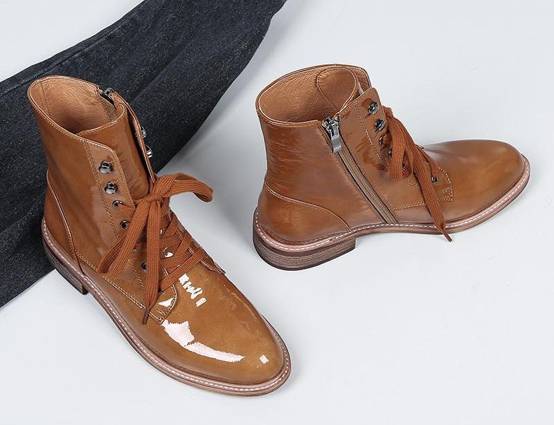 BROWN ANKLE LACED UP KENGÄT - IMPAVIID