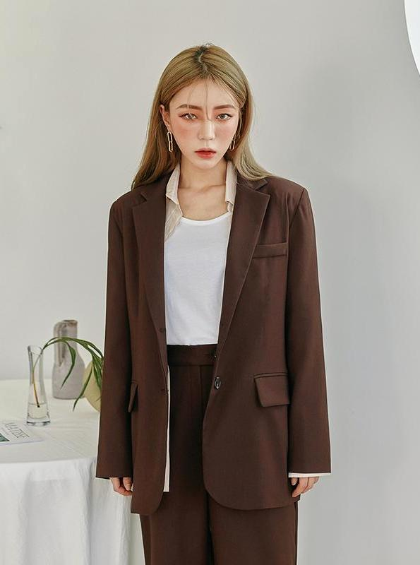 K-FASHION PANTSUIT VINTAGE ONE BUTTON BLAZER + HIGH WAISTED LOOSE PANTS