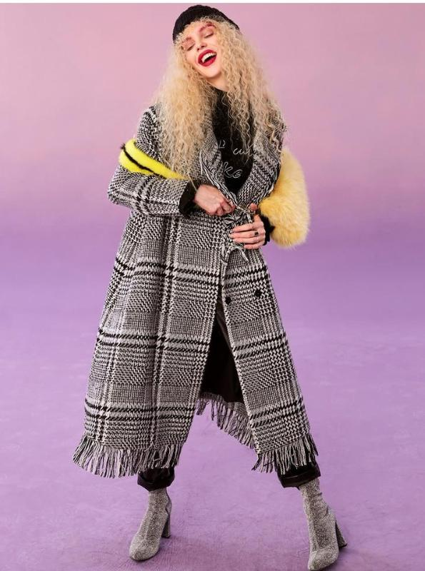 DISTRESSERAD GRAY PLAID WINTER COAT