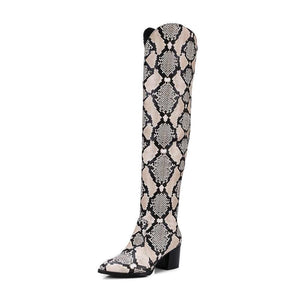 SNAKE PATTERN KNEE HIGH COWBOY BOOTS