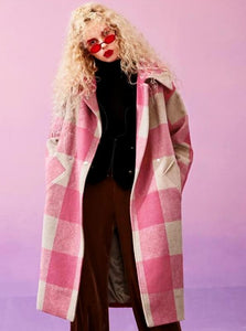 MAXI PINK PLAID WINTER COAT