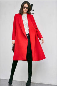 OPEN STICH MIDI A LINE COAT