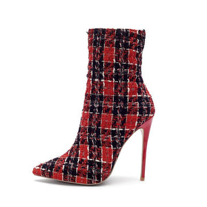 TWEED PLAID HIGH HEEL ENKELLAARZEN