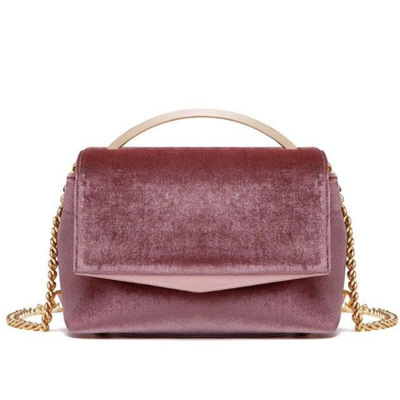 VELVET CLUTCH WITH CHAIN