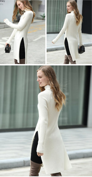 SIDE SLIT TURTLENECK SWEATER DRESS