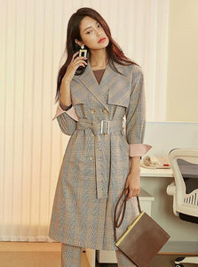 80'S STYLE PLAID TRENCH COAT - IMPAVIID