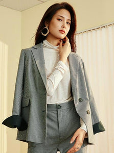 PLAID SLIM BLAZER