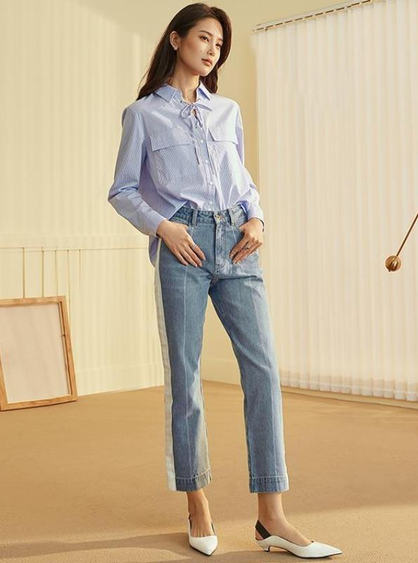 SIDE STRIPE CROPPED STRAIGHT JEANS