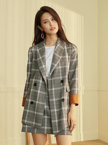 80'S STYLE PLAID PLAZER AND SKIRT SET - IMPAVIID