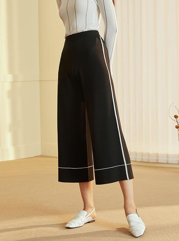 BLACK CHIFFON CROPPED WIDE LEG PANTS - IMPAVIID