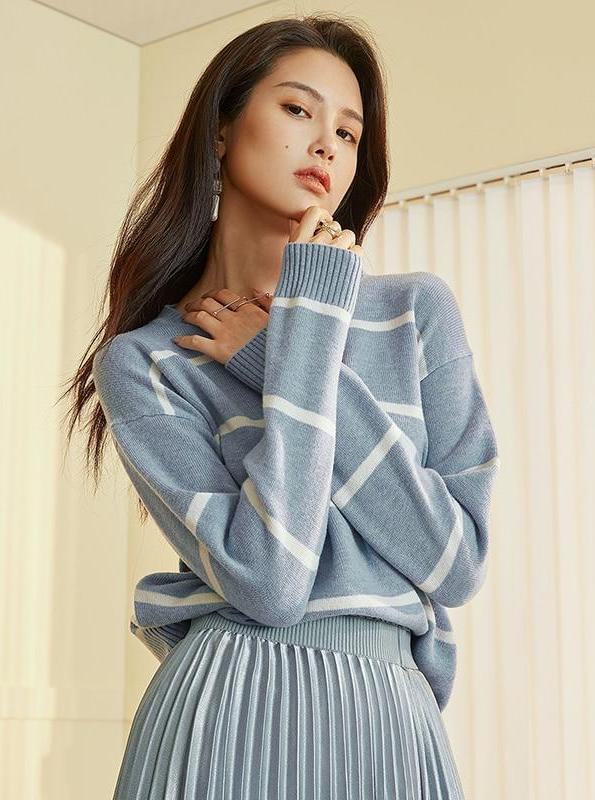 BLUE KNITTED STRIPED SWEATER - IMPAVIID
