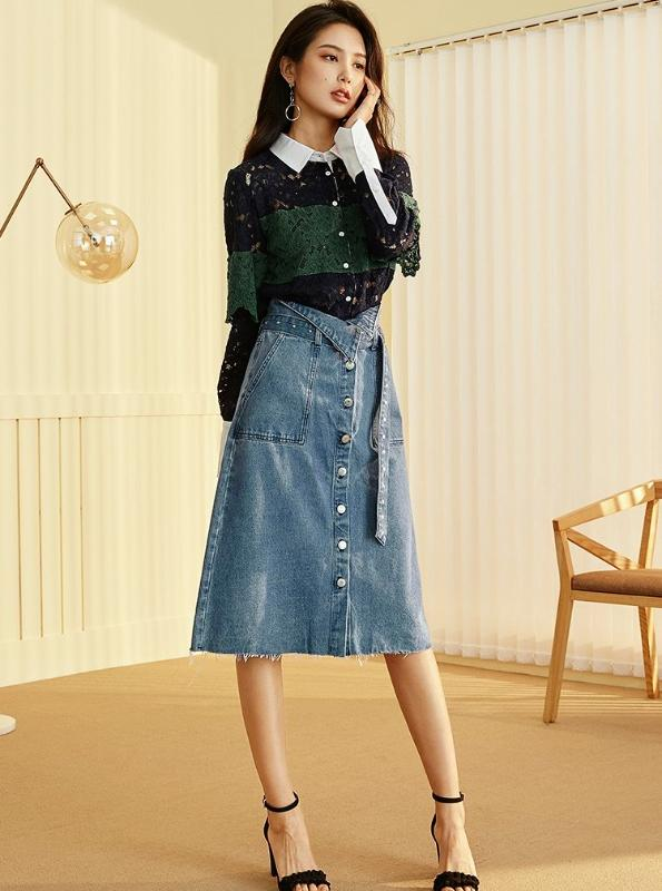 VINTAGE MIDI DENIM SKIRT