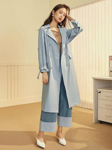 BABY BLUE BUTTONED UP TRENCH COAT 90'S STYLE - IMPAVIID