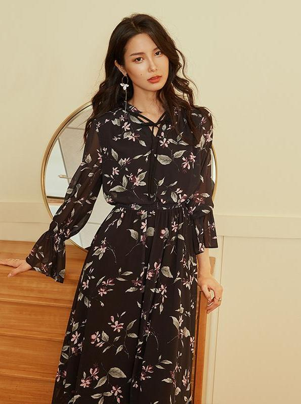 BLACK FLORAL CHIFFON DRESS - IMPAVIID