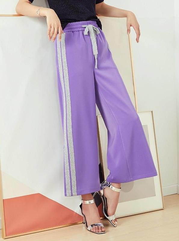 PURPLE CASUAL WIDE LEG PANTS WITH SIDE STRIPE