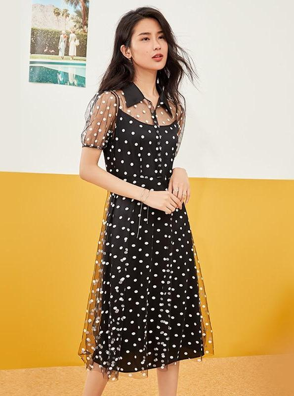 BLACK SHEER POLKA DOT MIDI DRESS - IMPAVIID