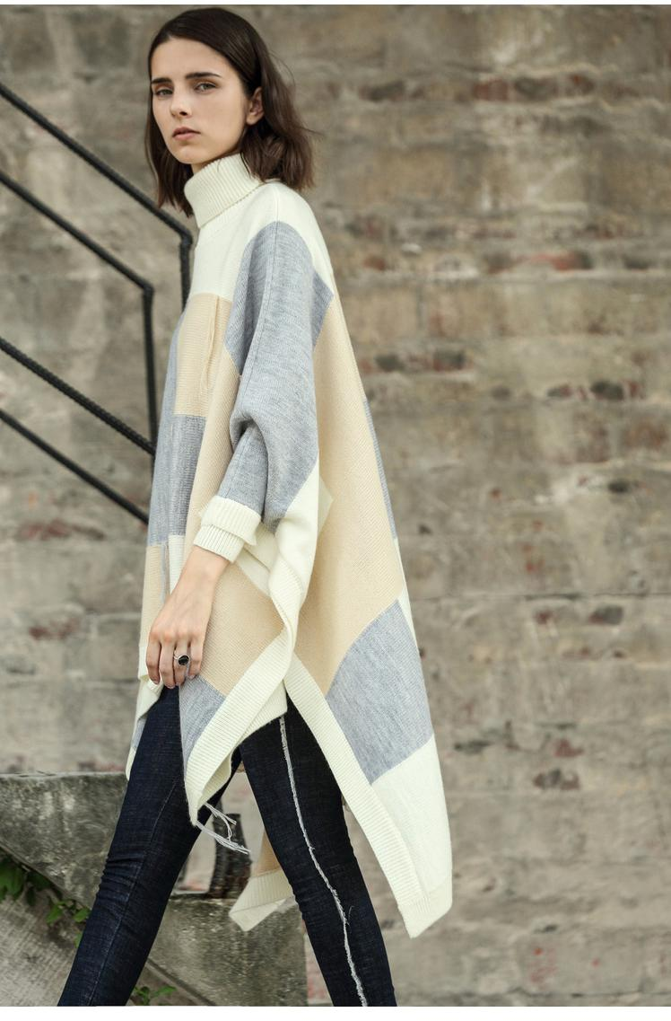 PLAID TURTLENECK KNITTED CAPE