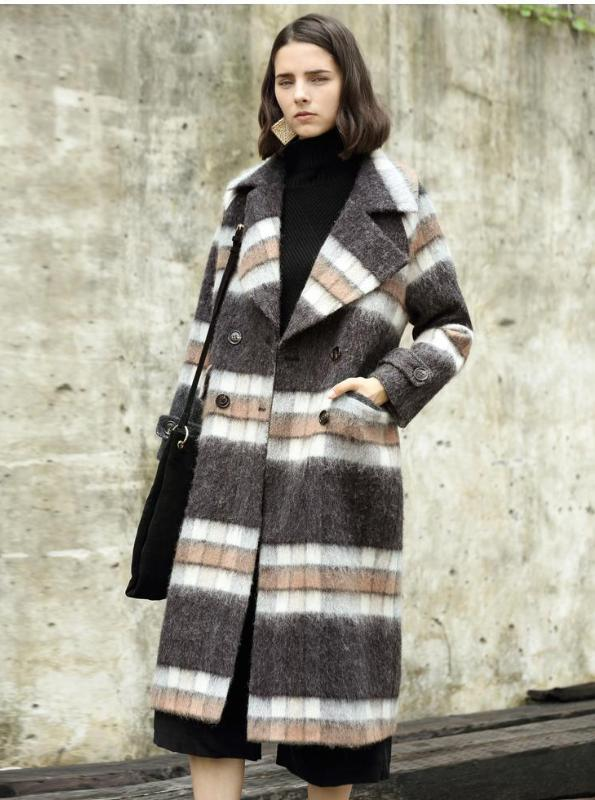FLUFFY PLAID MAXI COAT