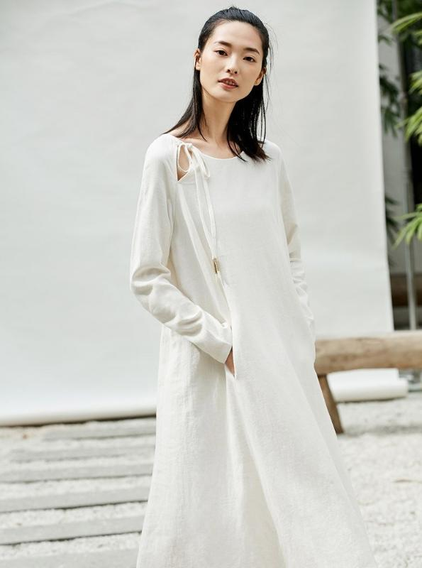 MINIMALISM LACED UP MAXI SHIRT DRESS