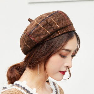 VINTAGE PLAID FRENCH STYLE BERET
