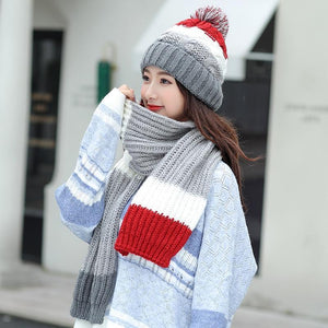 KNITTED WARM HAT & SCARF SET