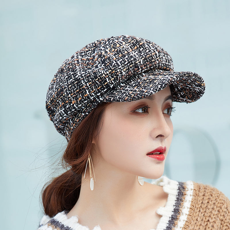 VINTAGE PLAID TWEED BAKER BOY HAT