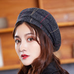 VINTAGE PLAID FLAP BERET