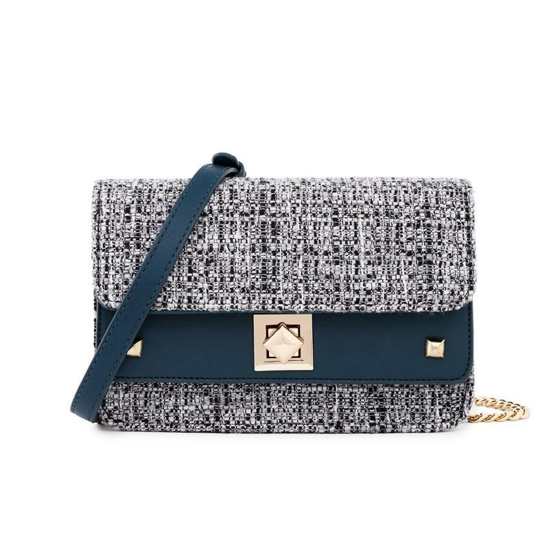 BLUE TWEED CLUTCH - IMPAVIID