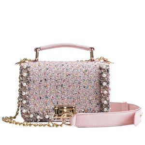 PINKKI TWEED & PEARLS CLUTCH