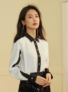 BLACK AND WHITE CONTRASTING FORMAL SHIRT - IMPAVIID