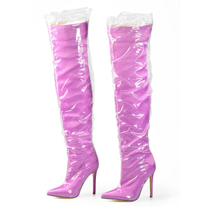 CLEARL PLASTIC WRAPPD OVER THE KNEE BOOTS - IMPAVIID