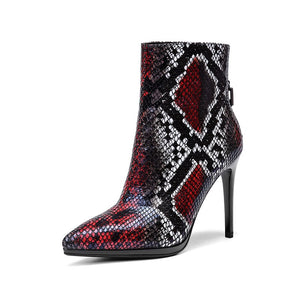 SNAKE POINTED TOE ANKLE BOOTS