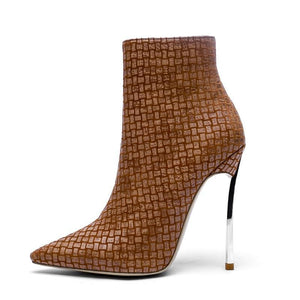 BROWN GINGHAM HIGH HEEL ANKLE BOOTS - IMPAVIID